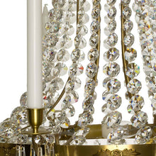 Empire Chandelier - Light Brass Empire Style 8 Arm Chandelier With Crystal Drops