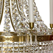 Empire Chandelier - Light Brass Empire Style Chandelier With 10 Arms And Crystal Octagons
