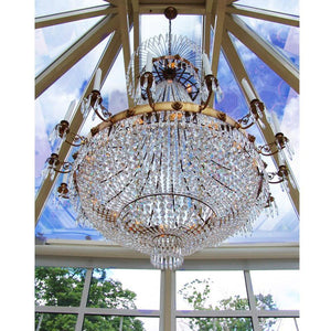 Empire Chandelier - Light Brass Empire Style Chandelier With 16 Arms And Crystal Octagons
