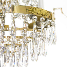 Empire Chandelier - Polished Brass Empire Style 5 Arm Chandelier With Crystals