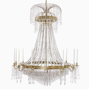 Empire Chandelier - Polished Brass Empire Style Chandelier With 14 Arms And Crystal Octagons
