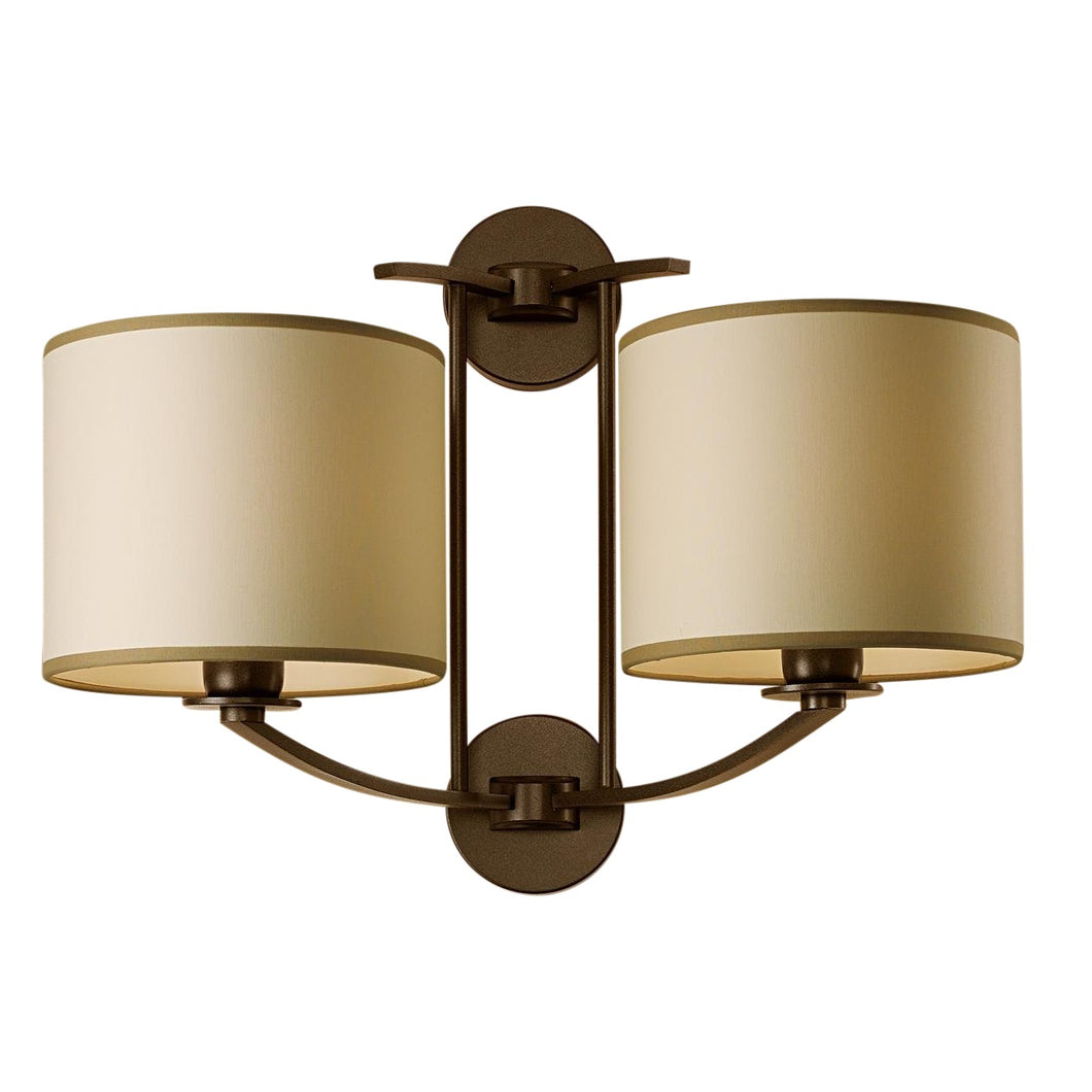 Glasgow penny bronze wall light with double shade