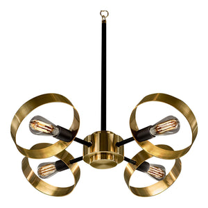 Brushed brass with satin black chandelier