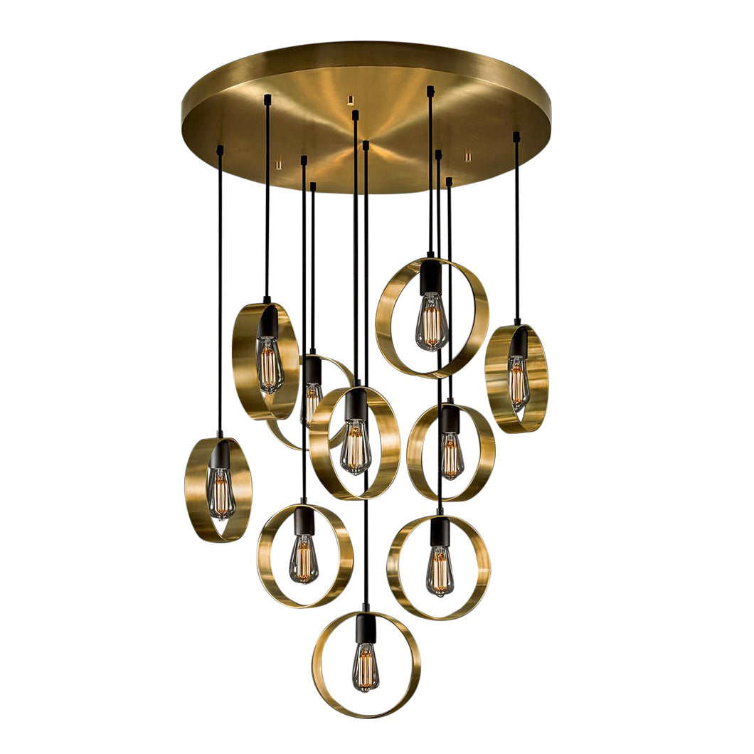 Brushed brass with satin black chandelier - brass and light detail
