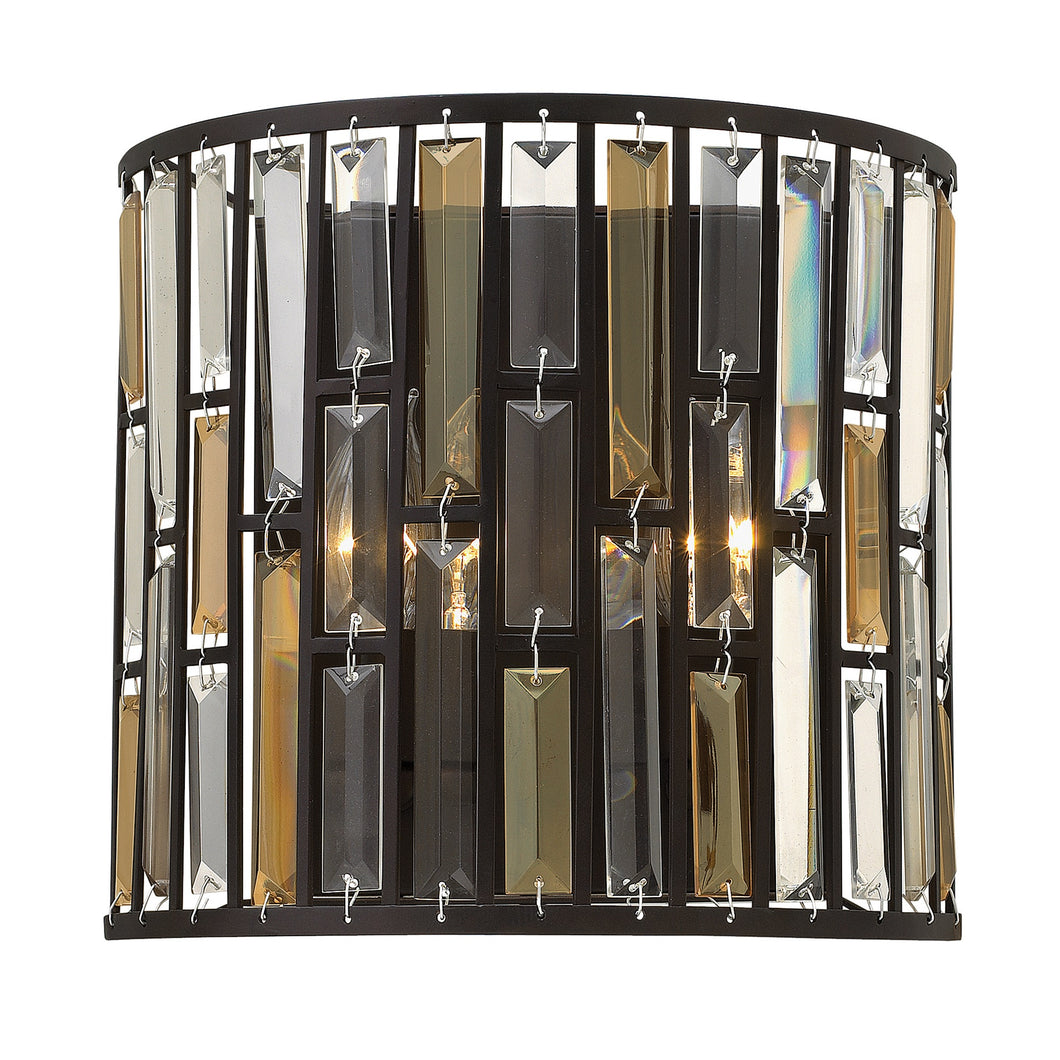 Vintage Bronze Wall Light with Coloured Prisms