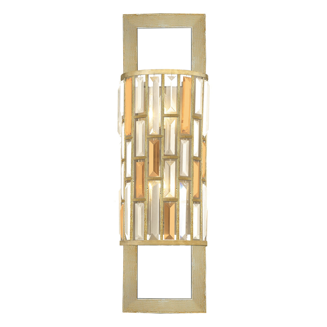 Silver Leaf Frame Wall Light with Coloured Prisms