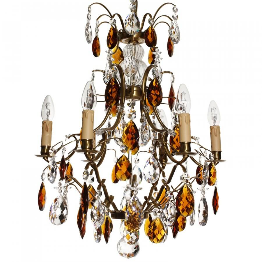 Amber coloured crystal chandelier