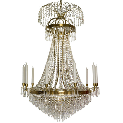 Light brass Empire chandelier with 10 arms and crystal octagons