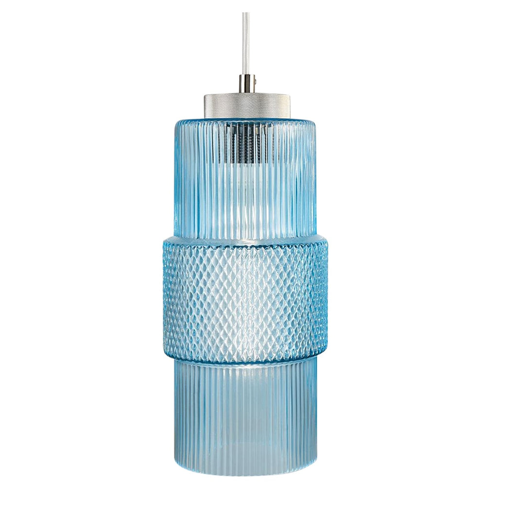 Aqua knurled glass pendant light