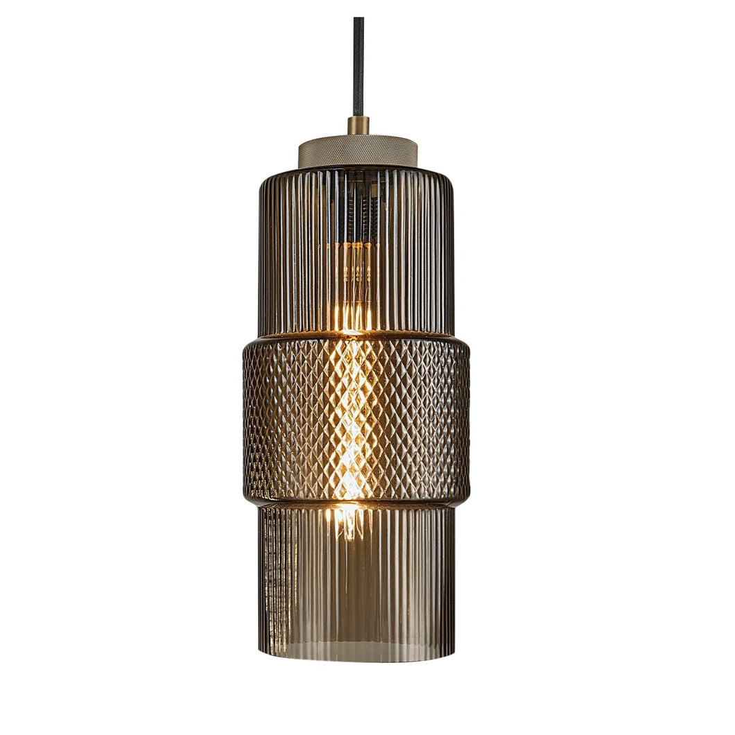Laguna pendant with knurled detailing - mocca colour