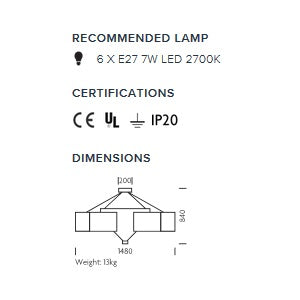 Diamond frame pendant light - measurements