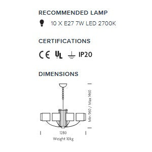 Glasgow 10 arm pendant light - measurements