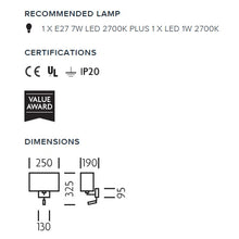 Combination wall light with LED reading light in satin black - measurements