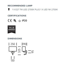 Combination wall light with LED reading light in polished chrome - measurements