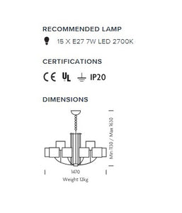 Glasgow 15 arm pendant light - measurements
