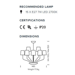 Polished chrome 15 arm ceiling light - measurements