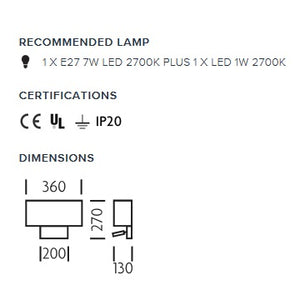 Polished chrome wall light with LED docking - measurements
