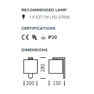 Aluminium wall light with cotton shade - measurements
