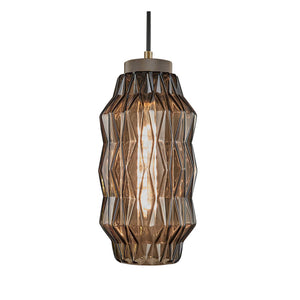 Laguna Pendant with geometric patterns - mocca