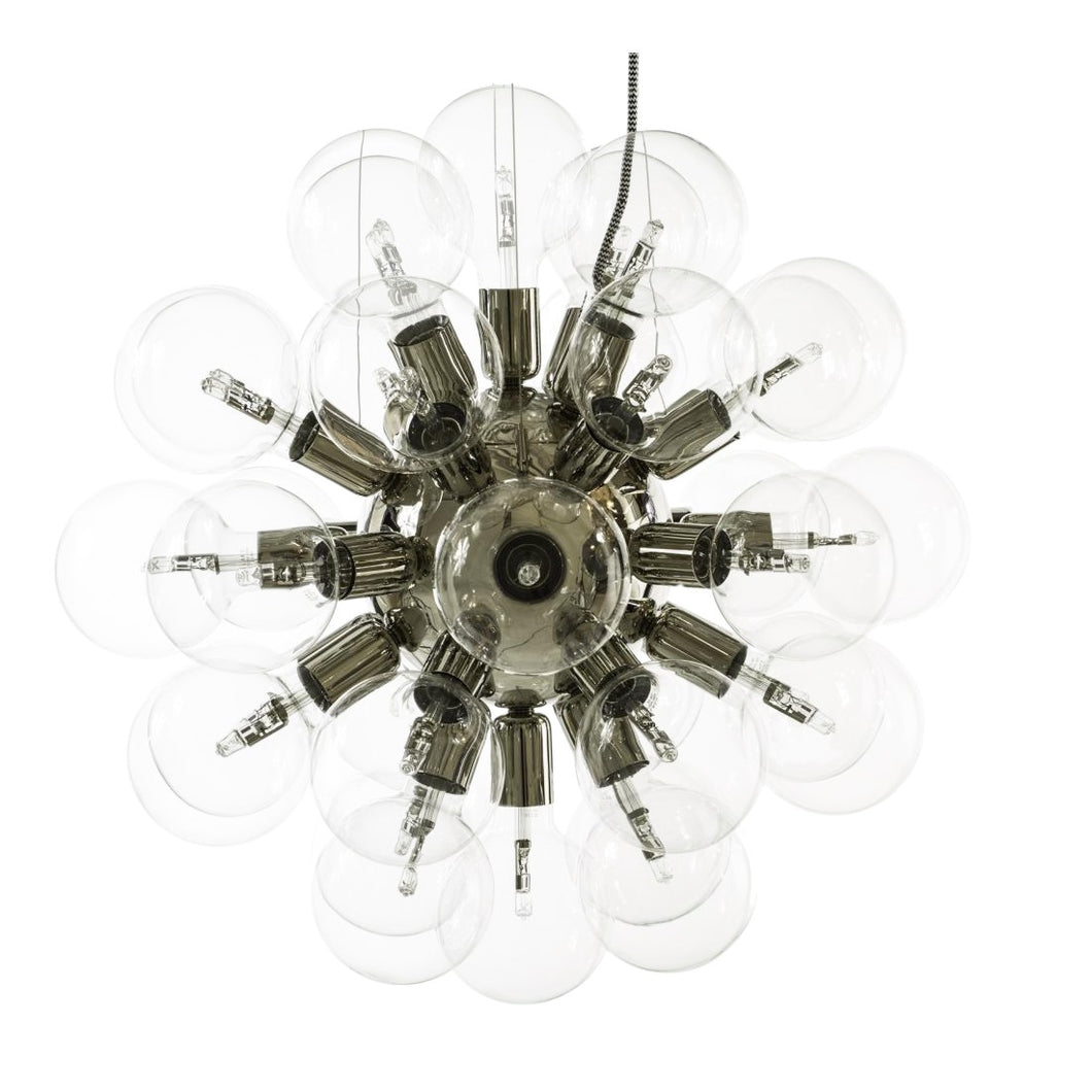 Nickel plated contemporary style chandelier with clear bulbs
