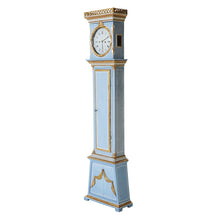 Mora clock in original blue paint with side profile