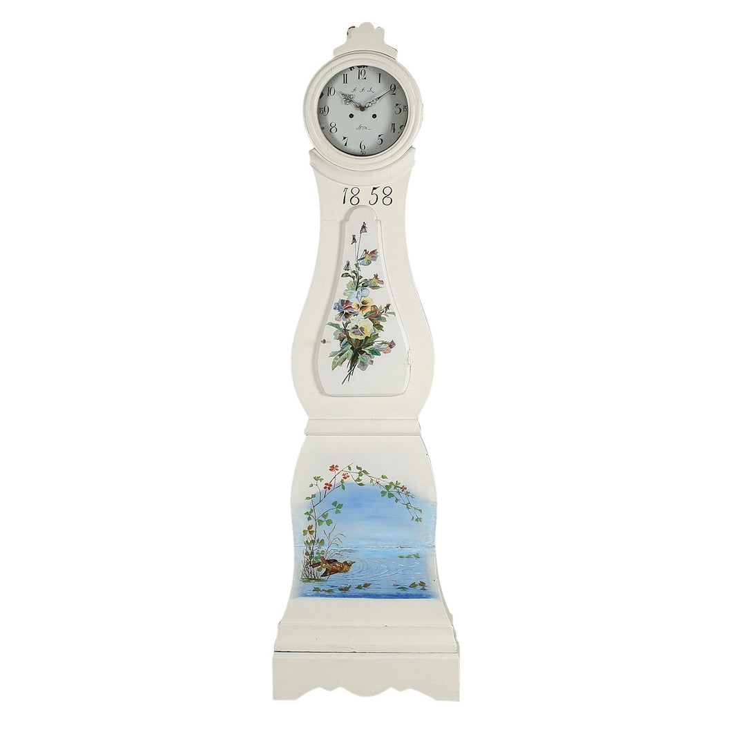 mora clock with floral painted details