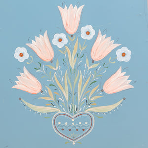 Mora Clock in Blue - flower detail