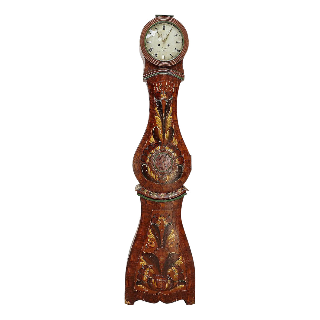 mora clock with antique paint detailing
