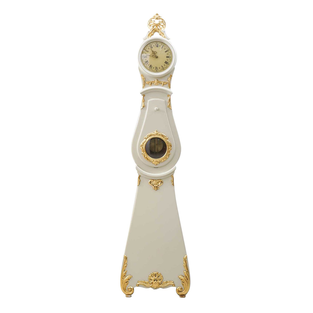 Mora clock in white and gold