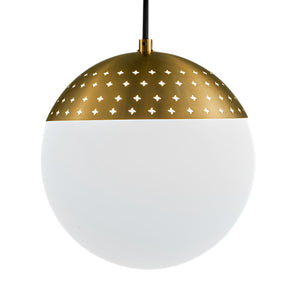 Bushed brass light with a single opal globe