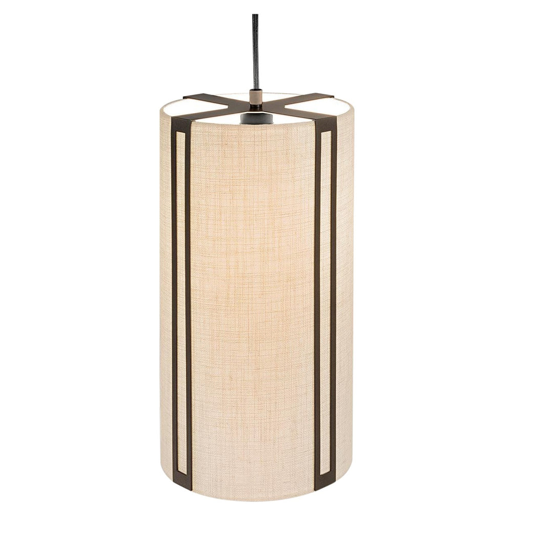 Penny bronze and linen pendant light