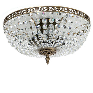 Dark brass plafond chandelier with crystals - detail