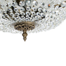 Dark brass plafond chandelier with crystals - brass