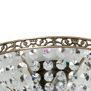 Dark brass plafond chandelier with crystals - frame