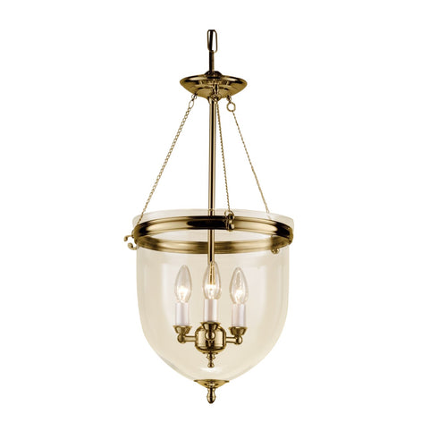 Polished brass lantern with glass