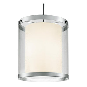 Polished chrome light with an outer seed glass shade