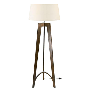 Polished chrome and walnut floor lamp