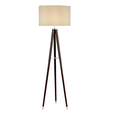 Polished chrome and wenge wood floor lamp