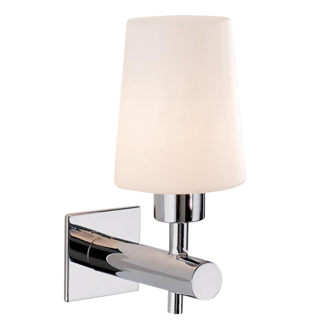 Polished chrome bathroom wall light with shade