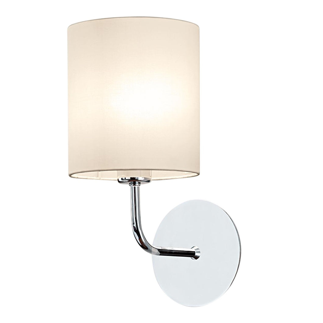 Polished chrome wall light with shade