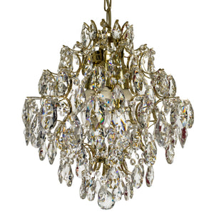 Crystal chandelier with polished brass frame -detail