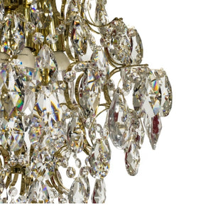 Crystal chandelier with polished brass frame - crystal detail