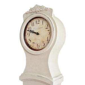 Mora Clock - Antique White - face from side