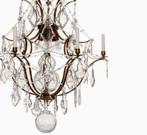 Rococo Chandelier - Light Brass Rococo Style Chandelier With 5 Arms And Crystal Pendeloques
