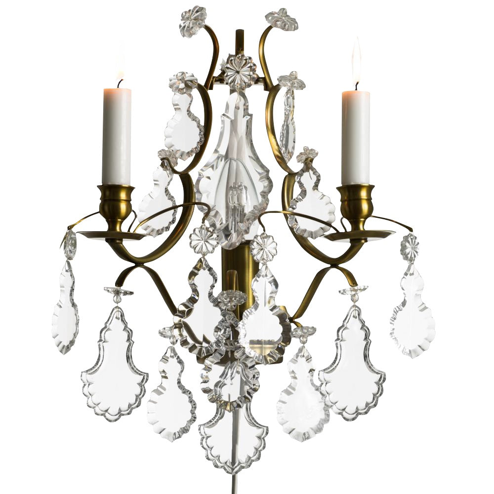 Baroque cognac coloured Brass Wall Sconce with pendeloque crystals
