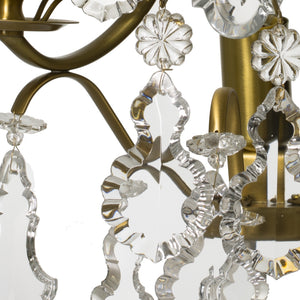 Baroque cognac coloured Brass Wall Sconce with pendeloque crystals crystals