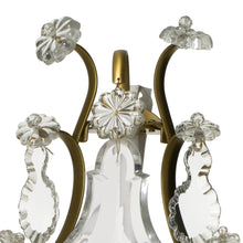Baroque cognac coloured Brass Wall Sconce with pendeloque crystals rose detail
