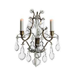 Baroque Dark Brass Wall Sconce with pendeloque crystals