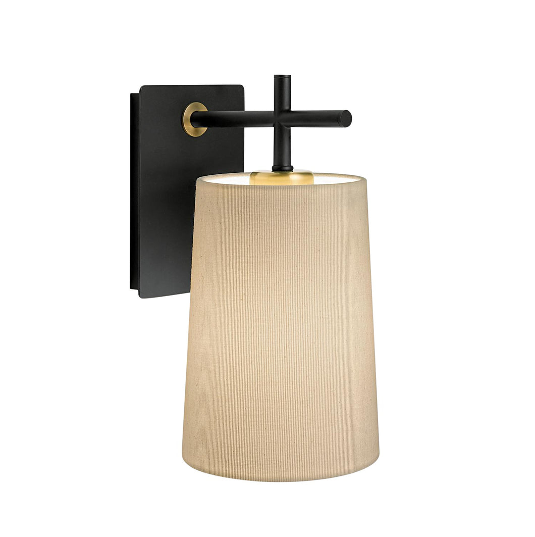 Satin black and brushed brass wall light with shade