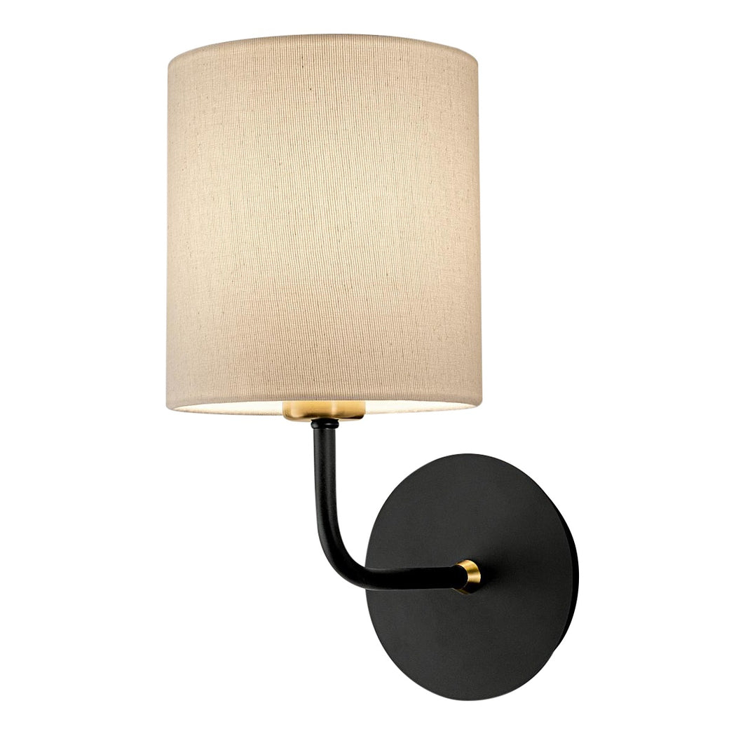 Satin black with brushed brass wall light with shade